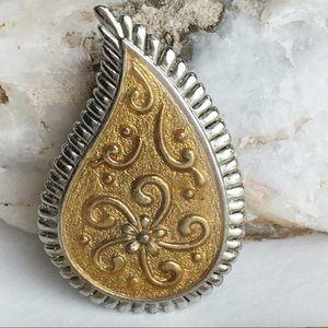 JjSigned Vintage Teardrop gold tone silver brooch